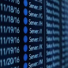 Server Farm - All Blue Light Active Servers - Slant Angle Stock Footage