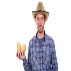 Serious Farm Worker Holding Brown Potatoes Carbohydrate Trustful Ok Sign Gesture Stock Footage