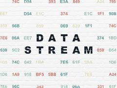 Information concept: Data Stream on wall background Stock Illustration