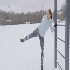 Fitness Workout Outdoors Winter Stock Footage