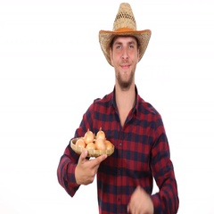 Confident Good Looking Farmer Man Holding Common Onion Positive Ok Sign Gesture Stock Footage