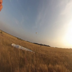 Happy parachutist after landing on the ground Stock Footage