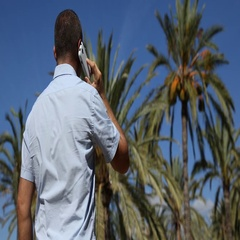 Tourist Man Talk Mobile Phone Call Blue Sky Palm Trees Exotic Destination Travel Stock Footage