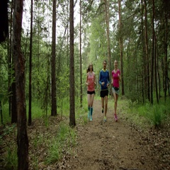 Run training in the forest Stock Footage