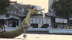 Royal Thai Barge Procession rehersal Stock Footage