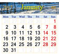Calendar for January of 2017 with image of snow-covered fence Stock Illustration