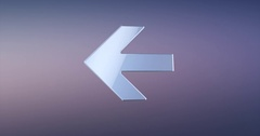 Arrow Left Silver 3d Icon Stock Footage