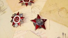 World War Two medals on the letters in USSR Stock Footage