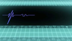 Bottom View - Dark Screen - monitor - heartbeat line - Blue Stock Footage