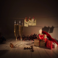 New Year and Christmas Celebration with Champagne. Two Flutes and Pouring Stock Footage