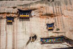 Mati Si temple in the rock caves, Zhangye, Gansu province, China Stock Photos