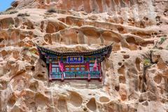 Cave temple at Horses Hoof Temple, Mati Si, Zhangye, Gansu province, China Stock Photos