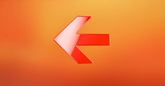 Arrow Left Red 3d Icon Stock Footage