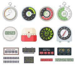 Timer clocks vector set. Stock Illustration