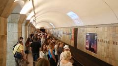 Arrival subway train station Maydan Nezalezhnosti Stock Footage