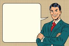 Successful retro businessman, comic bubble Piirros