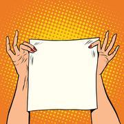 Female hands holding a white square banner Stock Illustration