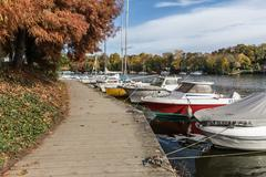 Boats on the Erdre river dock Stock Photos