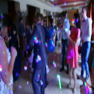 Blurry silhouettes of cheerfully dancing people Stock Footage