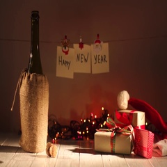 New Year and Christmas Celebration with Champagne. Bottle of Pouring Sparkling Stock Footage