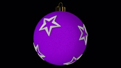 Pink Spinning Christmas Ball With Stars Stock Footage