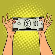 Female hands holding a hundred dollar bill Stock Illustration