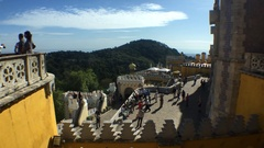 Tourists Taking Pictures At Pena Castle Top View of Sintra Mountains, Portugal Stock Footage