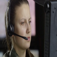 Close up portrait of a female military drone operator Stock Footage