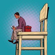 Small business man on the big chair, and smartphone Stock Illustration