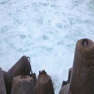 Concrete breakwater tetrapods Stock Footage