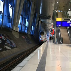 High-speed train goes from a platform at the central station Stock Footage