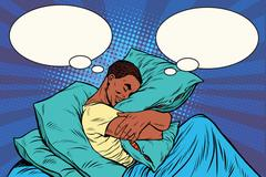 Dreamer man in bed hugging a pillow Stock Illustration