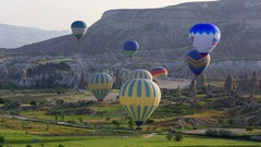 Flight of balloons in the early morning Stock Footage
