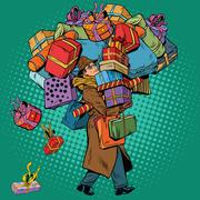 Man with shopping in holiday sale Stock Illustration