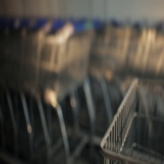 A lot of shopping trolleys near mall Stock Footage