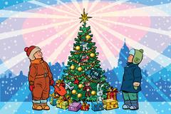 Children stand near the Christmas tree, holiday background Stock Illustration
