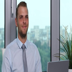 Confident Real Estate Manager Man Looking Interview Posing Smiling in Office Day Stock Footage