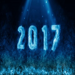 Happy new year 2017 with fire flame BLUE Stock Footage
