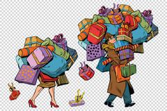Holiday sales, a couple man and woman with shopping Stock Illustration