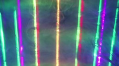 Varicolored Laser Beams with Smoke and Fog. Stock Footage