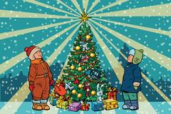 Children stand near the Christmas tree, retro background Stock Illustration