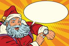 Santa Claus shows on the clock, New year and Christmas Stock Illustration