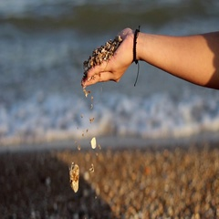Female Hand Pours Out of Seashells by the Seashore Stock Footage