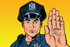 Retro police officer stop gesture Stock Illustration