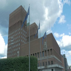 Oslo City Large Building Norway Stock Footage