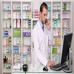 Pharmacist Man Talking Mobile Phone with Customer About Drugs in Pharmacy Store Stock Footage
