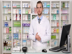 Young Pharmacist Specialist Talking American Man Looking Interview Pharmacy Shop Stock Footage