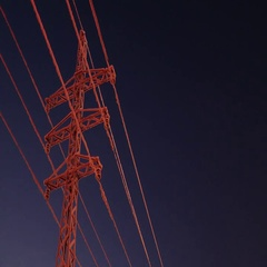 Frosted electric pole dark night. Stock Footage