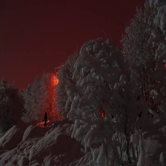 On a snow-covered alley people go, snow falls, dark night. Stock Footage
