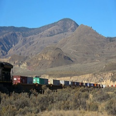 Railroad container train, mid train GE AC4400 loco, sunny autumn afternoon MS Stock Footage